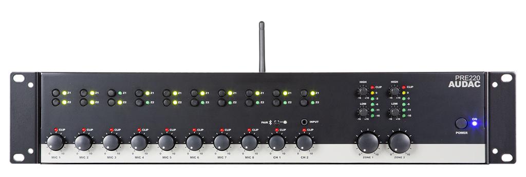Afbeelding van Audac PRE 220 12-kanaals mixer met bluetooth ontvanger met 2 zones