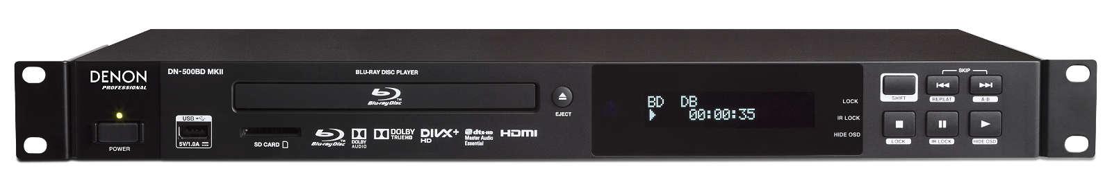 Afbeelding van Denon Professional DN 500 BD MK2 Blu-Ray speler met Dolby 7.1 en gebalanceerde XLR outputs