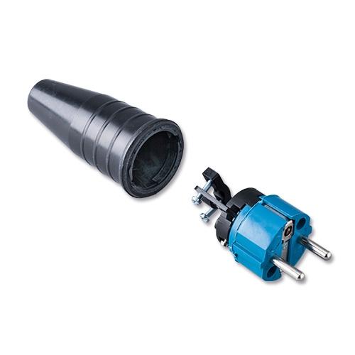 Afbeelding van Keraf 521 schuko stekker 230V volrubber met blauwe kop