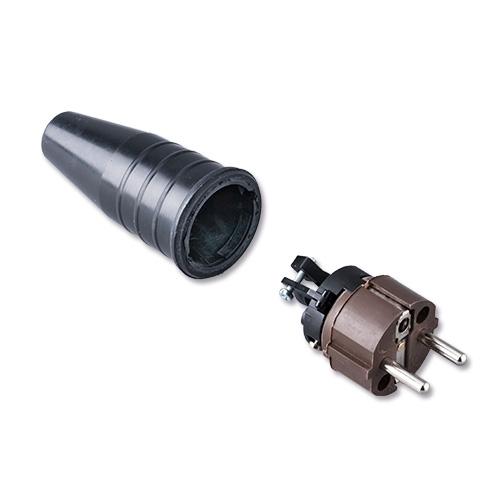Afbeelding van Keraf 521 schuko stekker 230V volrubber met bruine kop
