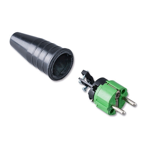 Afbeelding van Keraf 521 schuko stekker 230V volrubber met groene kop