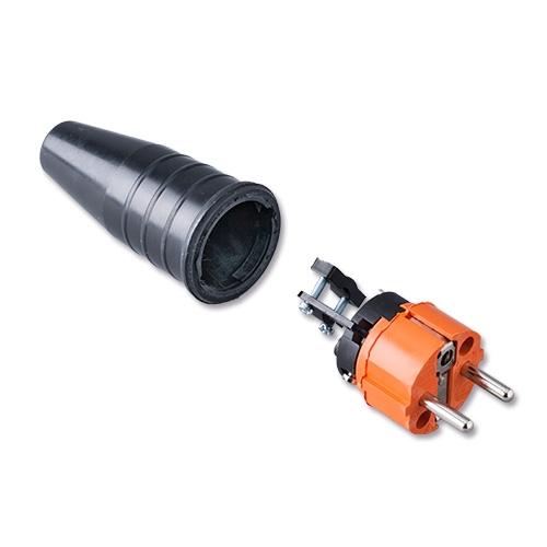 Afbeelding van Keraf 521 schuko stekker 230V volrubber met oranje kop