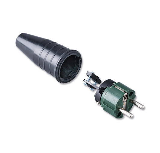 Afbeelding van Keraf 521 schuko stekker 230V volrubber met legergroene kop