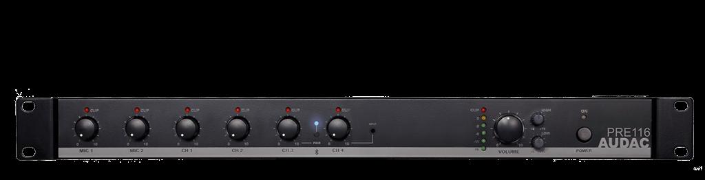Afbeelding van Audac PRE 116 6-kanaals mixer met bluetooth ontvanger