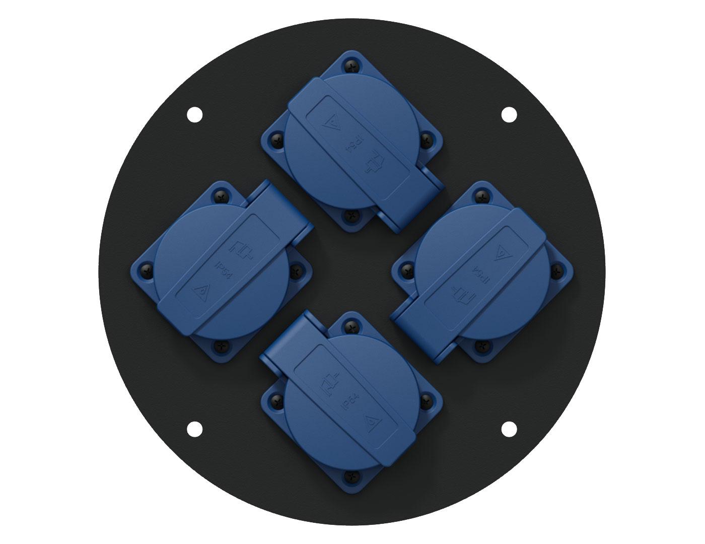 Afbeelding van Procab CRP 244G blindplaat met 4 shuko connectoren voor Procab CDM-310