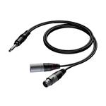 CAB709/5 Insertiekabel 6,3mm jack stereo naar 2x XLR - 5,0m