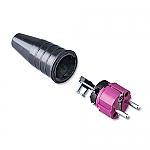 521 schuko stekker 230V volrubber met paarse kop