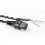 netsnoer met IEC lock naar open einde kleur zwart - 2,0m