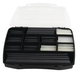 Krimpkous box 235 stuks in diverse maten, zwart + transparant